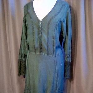 Roman's Size 22W lace trim boho maxi dress